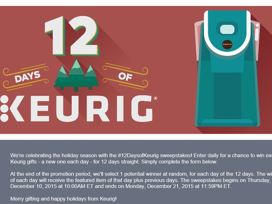 The 12 Days of Keurig Sweepstakes