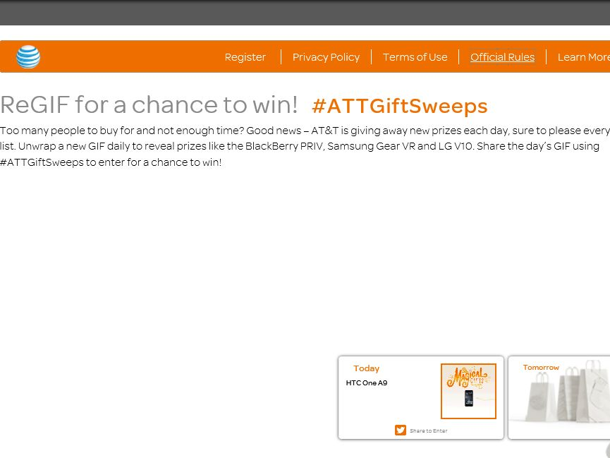 The AT&T #ATTGiftSweeps Holiday Sweepstakes