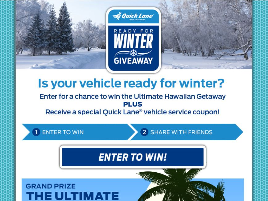 2015 Quick Lane Ready for Winter Giveaway Sweepstakes