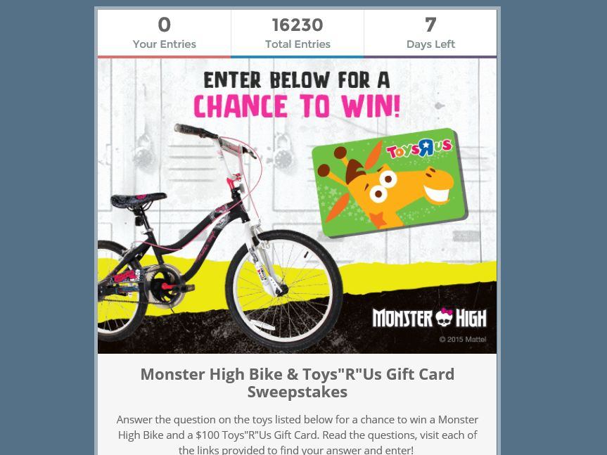 The 2015 Monster High Bike & Gift Card Sweepstakes