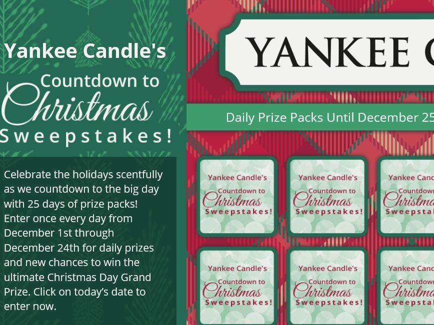 Yankee Candle Promotion: 2015 Yankee Candle Countdown to Christmas Sweepstakes