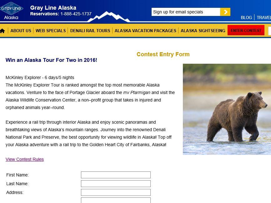 Mckinley Explorer Alaska Tour for Two Sweepstakes