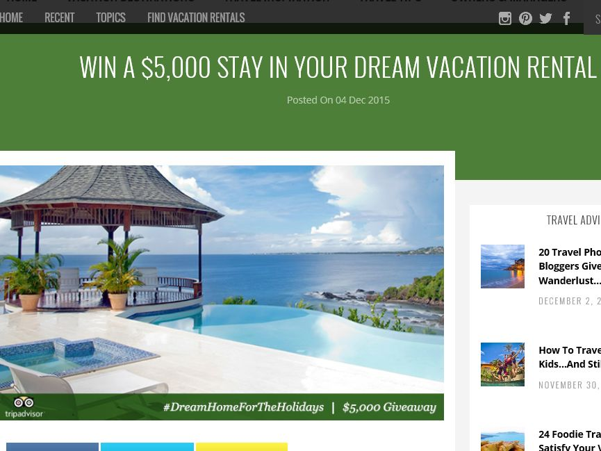 TripAdvisor Vacation Rentals #DreamHomeForTheHolidays Giveaway Sweepstakes