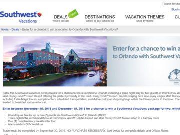 Southwest Vacations Orlando Sweepstakes