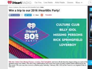 Win a Trip to the iHeart80's Party! Sweepstakes
