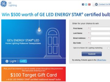 The GE Lighting's Energy Star LED Makeover Sweepstakes