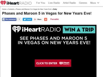 iHeartRadio Win a trip to the see Phases and Maroon 5 in Las Vegas! Sweepstakes