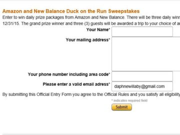 """The Amazon.com and New Balance """"Duck on the Run"""" Sweepstakes"""
