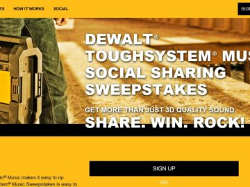 The DEWALT TOUGHSYSTEM Music Social Sharing Sweepstakes