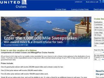 United.Com Cruises & MileagePlus Cruise Awards 1,000,000 Mile Cruise Sweepstakes
