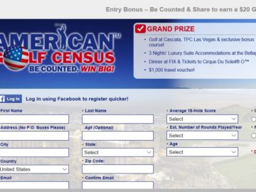 2015 American Golf Census Sweepstakes