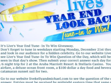 LIVE's Year End Tune In to Win Giveaway Sweepstakes