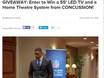 """The AMC """"CONCUSSION"""" Giveaway Sweepstakes"""