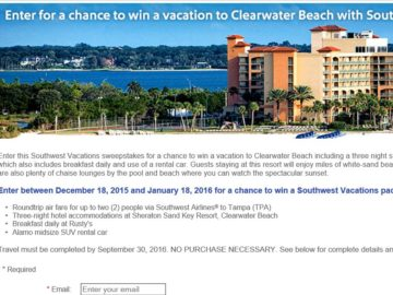 Southwest Vacations Tampa/Clearwater Sweepstakes