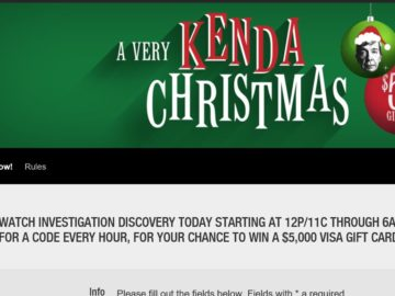 Investigation Discovery's A Very Kenda Christmas $5K Giveaway Sweepstakes
