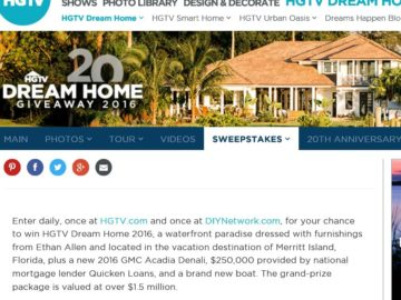 HGTV Dream Home Giveaway 2016 Sweepstakes