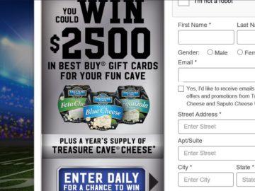 """The Saputo Cheese USA Inc. Treasure Cave Cheese """"BigGame Squares"""" Sweepstakes"""