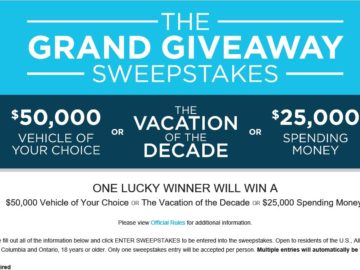 Wyndham Vacation Resorts Grand Giveaway Sweepstakes