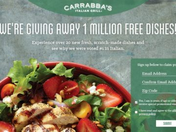 The Carrabba's 1 Million Dishes Instant Win Game