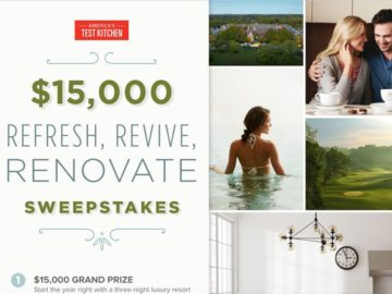 The America's Test Kitchen $15,000 Refresh, Revive, Renovate Sweepstakes