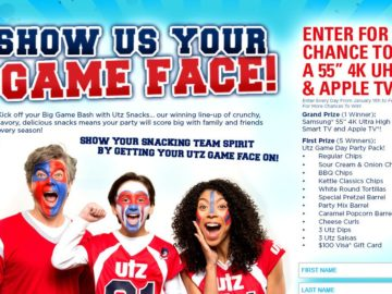 Utz Quality Foods Game Face Sweepstakes