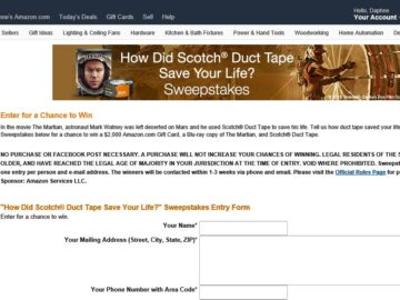 """The Amazon.com/The Martian/Scotch Brand """"How did Scotch Duct Tape Save Your Life?"""" Sweepstakes"""