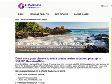 Million HawaiianMiles & Cruise Giveaway Sweepstakes