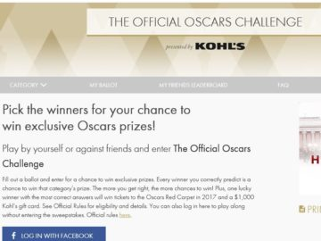 The Official Oscars Challenge 2016 Sweepstakes