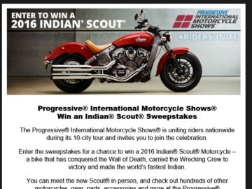 2015-2016 Indian Scout Motorcycle Giveaway Sweepstakes