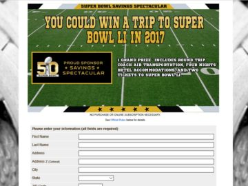 2016 SmartSource Savings Spectacular Super Bowl LI Sweepstakes