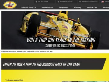 """Pennzoil """"Win a Trip to the Big Race"""" Sweepstakes"""