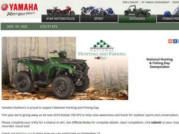 Yamaha Motor Corporation 2016 National Hunting and Fishing Day Sweepstakes