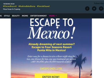 """US Weekly """"Escape to Mexico!"""" Sweepstakes"""