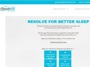 The Beautyrest Resolve for Better Sleep Sweepstakes
