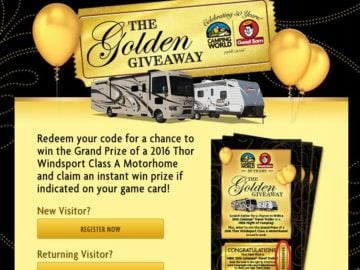 "Camping World's ""GOLDEN GIVEAWAY"" Sweepstakes"