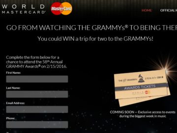 The MasterCard 58th GRAMMYs Sweepstakes