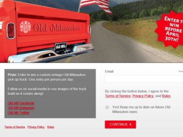 The Custom Old Milwaukee Truck Text-to-Win Sweepstakes