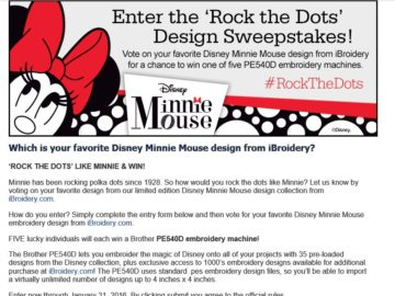 Brother International Corporation Minnie 'Rock the Dots' Sweepstakes