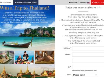 The 2016 Williams-Sonoma Win a Trip to Thailand Sweepstakes