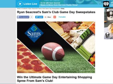Ryan Seacrest's Sam's Club Game Day Sweepstakes