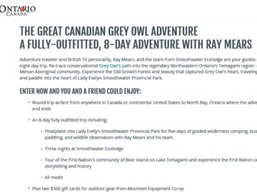 The Great Canadian Grey Owl Adventure Contest