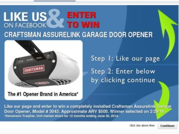 Sears Garage Door Installation Amp Repair Sweepstakes