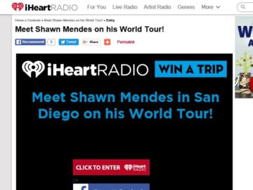iHeartRadio Win a Trip to Meet Shawn Mendes in San Diego Sweepstakes