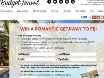 "Budget Travel ""Win a Romantic Getaway to Fiji!"" Sweepstakes"