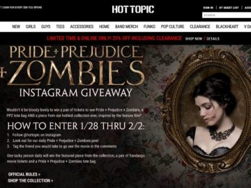 The Hot Topic Pride + Prejudice + Zombies Instagram Sweepstakes