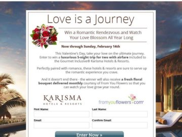 """The Premier Worldwide Marketing and From You Flowers """"Love Is A Journey"""" Sweepstakes"""