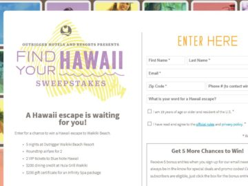 The Outrigger Find Your Hawaii Sweepstakes