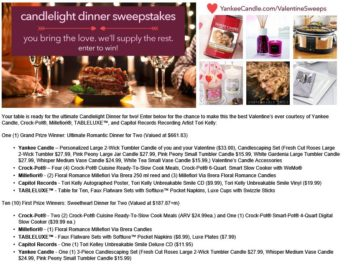 "Yankee Candle Promotion: 2016 Yankee Candle ""Candlelight Dinner"" Sweepstakes"