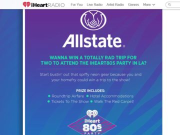 Allstate iHeart80s Party VIP Fly-Away Sweepstakes