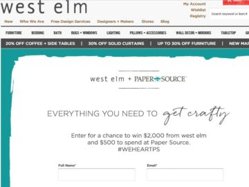 West Elm X Paper Source Sweepstakes